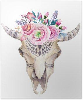 Plakát Akvarel kráva lebka s květinami a peří dekorace. Boho