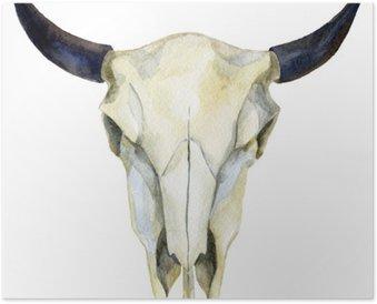 Plakát Akvarel kráva lebka