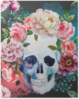 Plakát Akvarel lebka