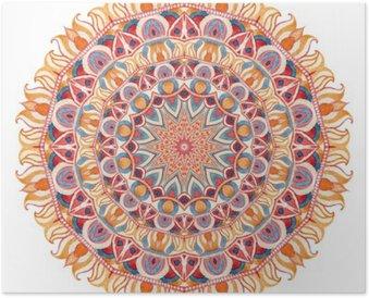 Plakát Akvarel mandala s posvátné geometrie. Ozdobná krajky na bílém pozadí.