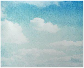 Plakát Akvarel mraky a obloha na pozadí