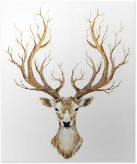 Plakát Akvarel ručně tažené jelen