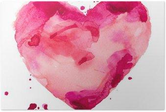 Plakát Akvarel srdce. Concept - láska, vztahy, umění, malba