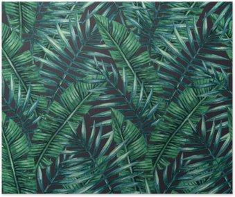 Plakát Akvarel Tropické palmové listy bezproblémové vzor. Vektorové ilustrace.