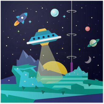 Plakát Alien prostor planeta krajina s UFO