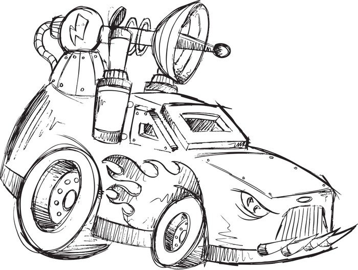 Plakát Armored Car Vehicle Sketch vektorové ilustrace umění - Na cestě