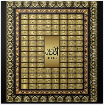 Plakát Asmaul Husna, 99 Jména Všemohoucím Alláhem