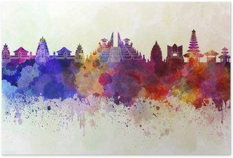 Plakát Bali panorama v akvarelu pozadí