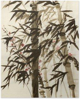 Plakát Bambusové stromy a švestky větev