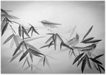 Plakát Bambusu a tři birdie větev