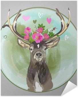 Plakát Barevné hlava jelena s květinami