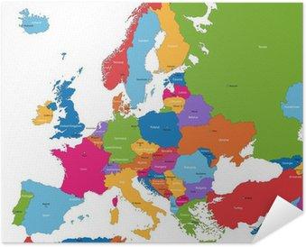 Plakát Barevné Mapa Evropy se zeměmi a hlavní města