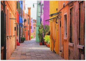 Plakát Barevné ulice Burano, nedaleko Benátek, Itálie