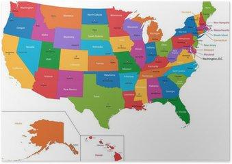 Plakát Barevné USA mapa států a hlavních měst