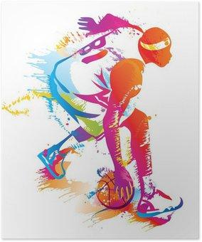 Plakát Basketbalový hráč. Vektorové ilustrace.