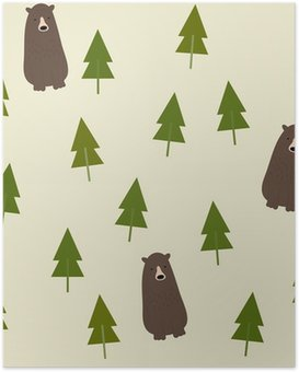 Plakát Bear and forest seamless background.