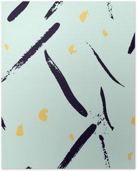 Plakát Bezešvé abstraktní ručně malovaná brushstroke tvary vzor textura. Jednoduchý moderní geometrické Chevron tisk v vektoru. Bederní stylový vzor.