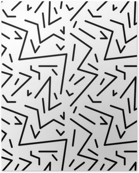 Plakát Bezešvé geometrický vzor vinobraní v retro stylu 80. let, Memphis. Ideální pro konstrukci materiálu, papíru a tisku webových stránek pozadí. EPS10 vektorový soubor