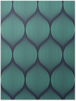 Plakát Bezešvé neon modré optický klam tkaný vzor vektor
