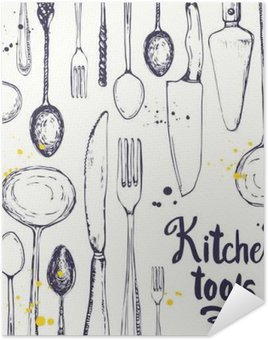 Plakát Bezešvé pozadí s jídelní nádobí. vzor Menu.