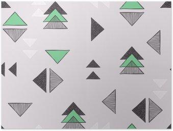 Plakát Bezešvé ručně kreslených trojúhelníky vzorem.