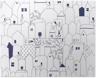 Plakát Bezešvé vzor. Obrázek měst ve stylu vintage.
