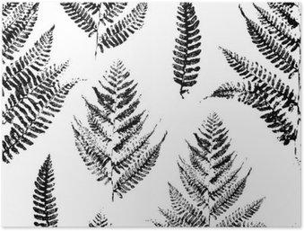 Plakát Bezešvé vzor s barvou otisky kapradiny listů
