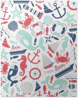 Plakát Bezešvé vzor s výhledem na moře ikony