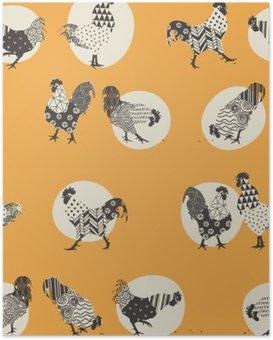 Plakát Bezešvých textur s kohouti, ornamenty handmade kohout - symbol 2017