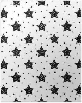 Plakat Bezproblemowa czarno-biały wzór z cute gwiazd dla dzieci. Baby shower tło wektor. Dzieci rysunek styl Boże Narodzenie wzór.