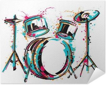 Plakát Bicí souprava s postříkání v akvarelu stylu. Barevné ručně kreslenými vektorové ilustrace