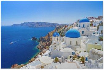 Plakát Bílá architektura Oia vesnice na ostrově Santorini, Řecko