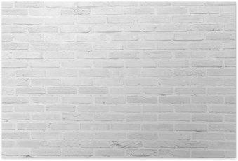 Plakát Bílá grunge cihlové zdi textury na pozadí