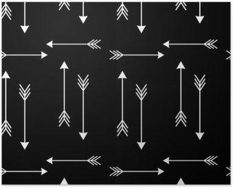 Plakát Bílými šipkami na černém pozadí bezešvé vektoru vzor illustration__