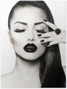 Plakát Black and White Brunette Girl Portrait. Trendy Caviar Manikúra