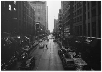 Plakát Black and White Chicago Streets