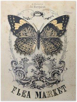 Plakát Bleší trh vintage pozadí