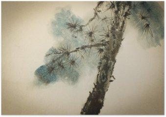 Plakát Borovice kmen stromu a větve