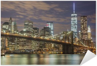 Plakát Brooklyn Bridge a Downtown Mrakodrapy v New Yorku za soumraku