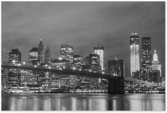 Plakát Brooklyn Bridge a Manhattan Skyline v noci, New York City
