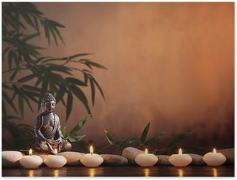 Plakát Buddha s hořící svíčkou a bambusu