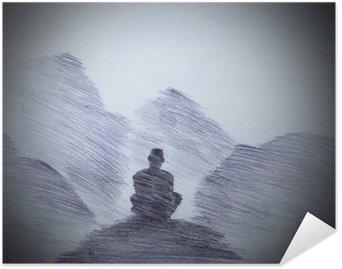 Plakát Buddhistický mnich v horách