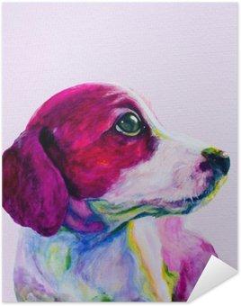 Plakát Buddy Portrét mladého psa, štěně v neonových barvách. Hledá a touží po pozornosti