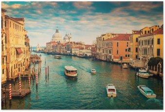 Plakát Canal Grande v Benátkách, Itálie. Barevný filtr aplikován.