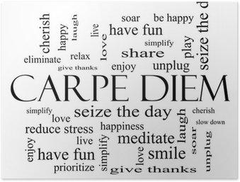 Plakát Carpe Diem Word Cloud Concept v černé a bílé