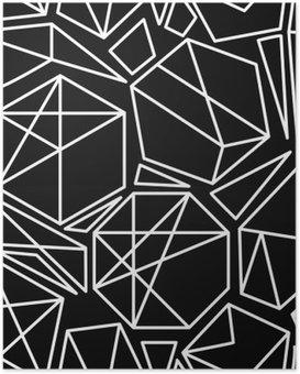 Plakát Černé a bílé vektorové geometrický vzor bezešvé