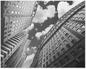 Plakát Černobílá fotografie budov na Manhattanu, NYC.