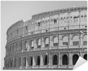 Plakát Černobílá fotografie z velkého Koloseum v Římě v retro stylu