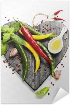 Plakát Čerstvá zelenina na tvaru srdce prkně