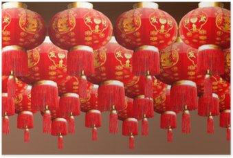 Plakát Červená lucerna porcelán styl